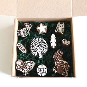 MAGIC FOREST set of handmade wooden stamps