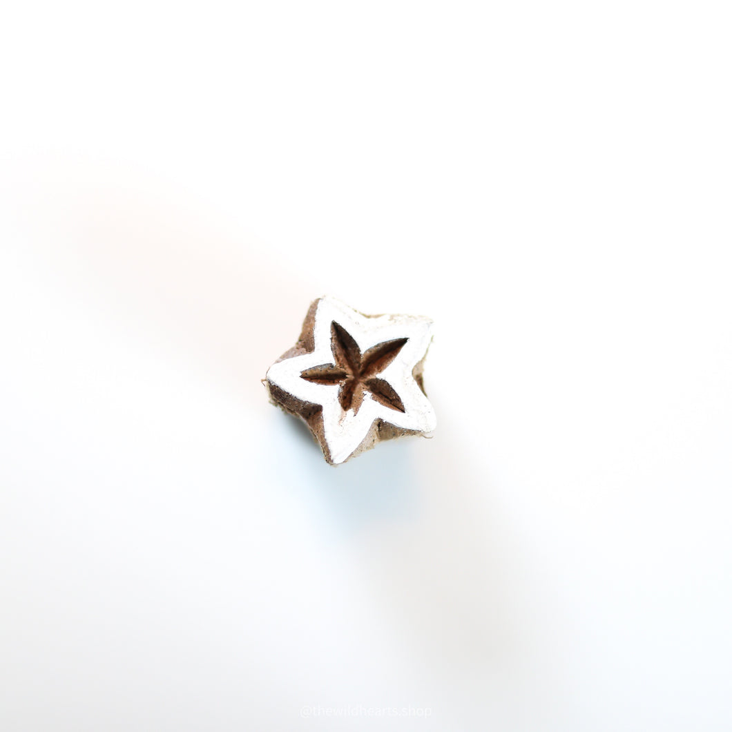 Small STAR 1 handmade wooden stamp