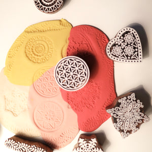 Patterns set of handmade wooden stamps