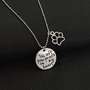 "Charm Pendant Necklace ""You Left Prints on My Heart"""
