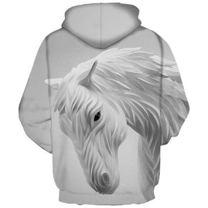 Fashionable Horse Print Hoodie