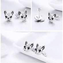 Load image into Gallery viewer, Sterling Silver French Bulldog Earrings
