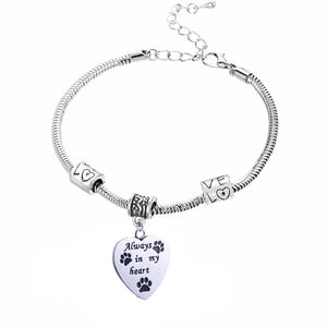 "Charm Bracelet with Love Beads ""Always in My Heart"""
