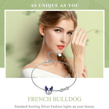 Load image into Gallery viewer, French Bull dog and Bone Bracelet Sterling Silver