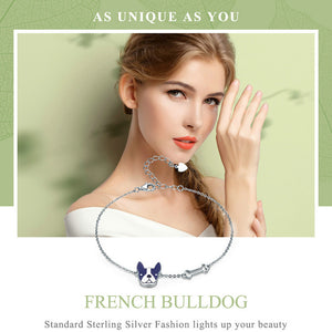 French Bull dog and Bone Bracelet Sterling Silver
