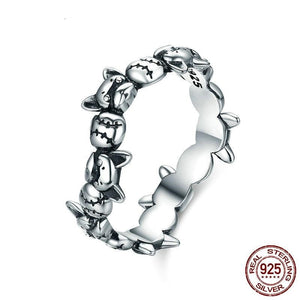 Sterling Silver French Bulldog Stack Ring