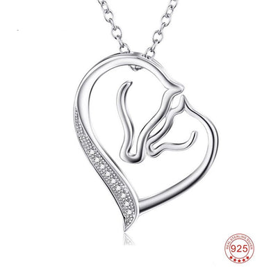 Sterling Silver Love of Horse Pendant Necklace