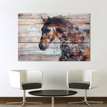 Load image into Gallery viewer, Unique Abstract Horse Painting on Barn Wood