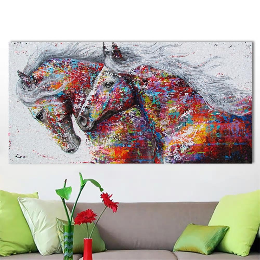 Art Deco Horses Canvas Painting