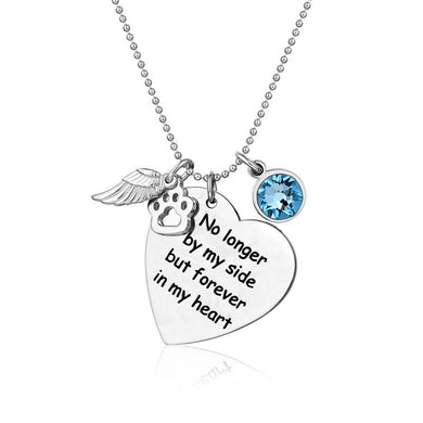 Sterling Silver Pet Memorial Birthstone Necklace