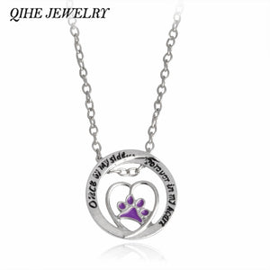 "QIHE JEWELRY Engraved ""Once by my side... Forever in my heart"" Purple Paw with A Heart Pendant Necklace Puppy Dog Lover Jewelry"