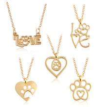 Load image into Gallery viewer, I Love Paw Necklace Gold Silver Chain Hollow Dog paw claw Heart Pendant Necklace Cat Kitty Puppy Suspend Pet Animal Jewelry Gift