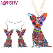 Load image into Gallery viewer, Chihuahua Dog Necklace and Earring Set