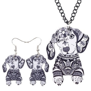 Dachshund Necklace and Earring Set