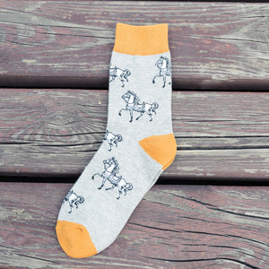 Men's Fashion Horse Print Crew Socks