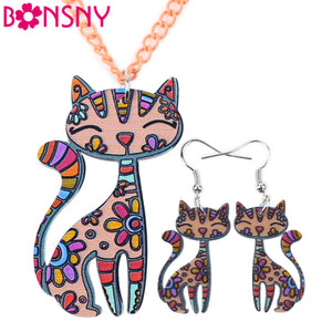 Cat Lovers Necklace and Erring Set
