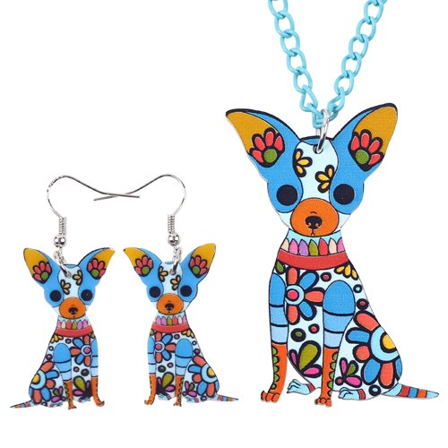 Chihuahua Dog Necklace and Earring Set