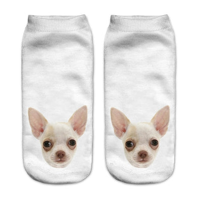 Women's Ankle Socks 3D Dog Faces