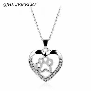 QIHE JEWELRY Personalised Paws On Heart Charm Dog Cat Paw Necklace Pet Memorial Jewelry Pet Lover Gifts
