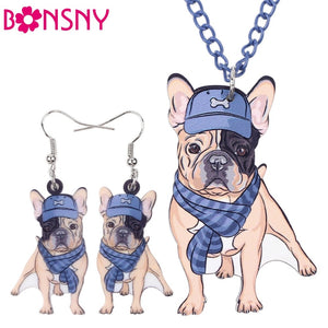 French Bulldog Necklace and Earring Set