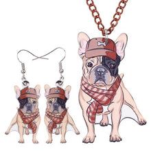 Load image into Gallery viewer, French Bulldog Necklace and Earring Set