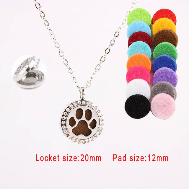 Aromatherapy Rhinestone Locket Pendant Necklace