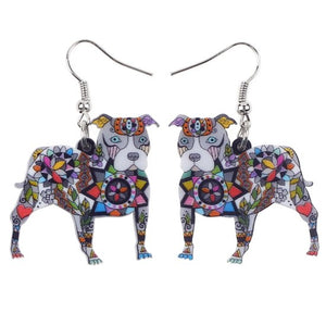 Dangle Style Pit Bull Dog Earrings