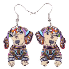 Load image into Gallery viewer, Dachshund Dog Dangle Earrings