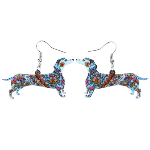 Dachshund Dog Dangle Earrings