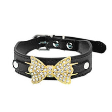 Load image into Gallery viewer, Leather Collar with Bling and Bow