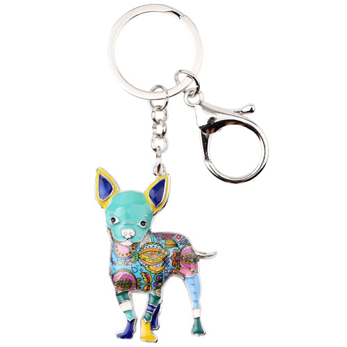 Chihuahua Lovers Key Chain Silver Plated