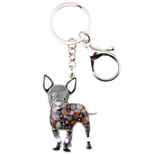 Load image into Gallery viewer, Chihuahua Lovers Key Chain Silver Plated