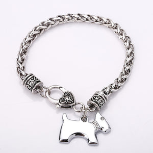 Silver Bracelet with Dog Cham