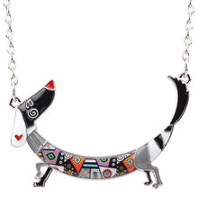 Load image into Gallery viewer, Bonsny Statement Maxi Metal Chain Enamel Pet Choker Dachshund Dog Necklace PendantCollar 2017 New Animal Jewelry For Women Girl
