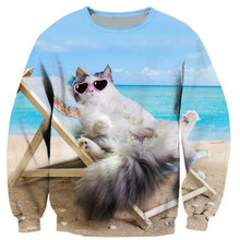 Load image into Gallery viewer, Fashion Sweatshirt Beach Kitty