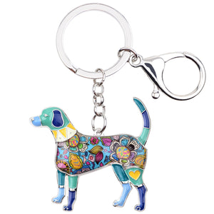 Bonsny Metal Enamel Beagle Dog Key Chain Key Ring Jewelry For Women Girls Bag Pendant Charm Car Key Holder Keychain Accessories