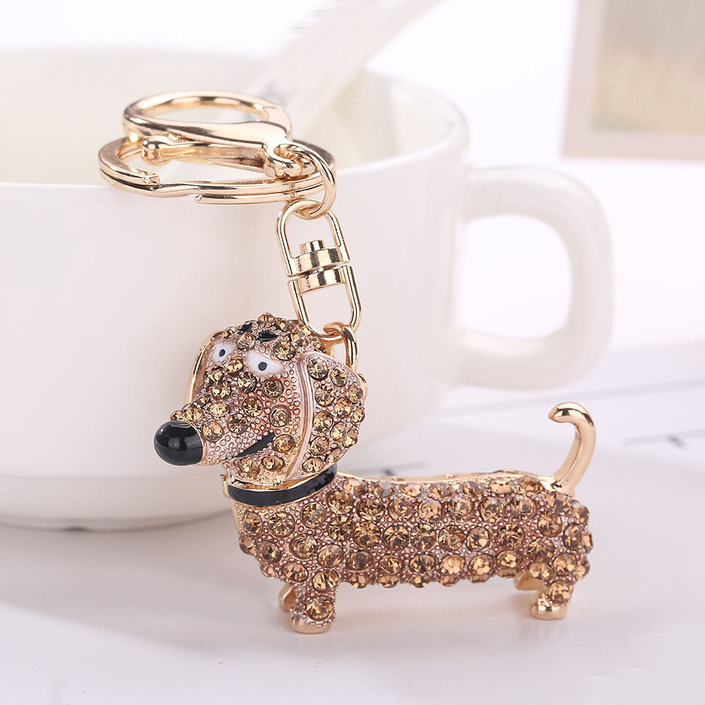 Rhinestone Cartoon Wiener Dog Keychain Tassel