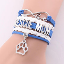 Load image into Gallery viewer, Infinite Love RESCUE MOM Leather and Silver Charm Bracelet