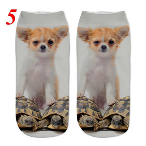 Women's Fashion Socks with Cute Dog Print in 3D