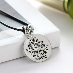 Leather Chain Charm Pendant Necklace