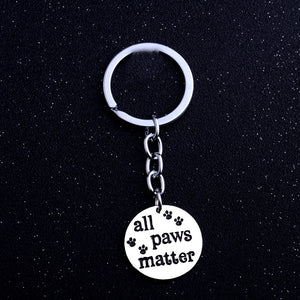 "Pet Charm Keychain Key ""All Paws Matter"""
