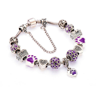 Beautiful Silver Dog Paw Charm Bracelet