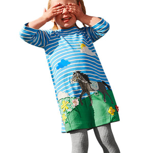 Toddler Girl's Horse Patchwork and Embroidery Dress