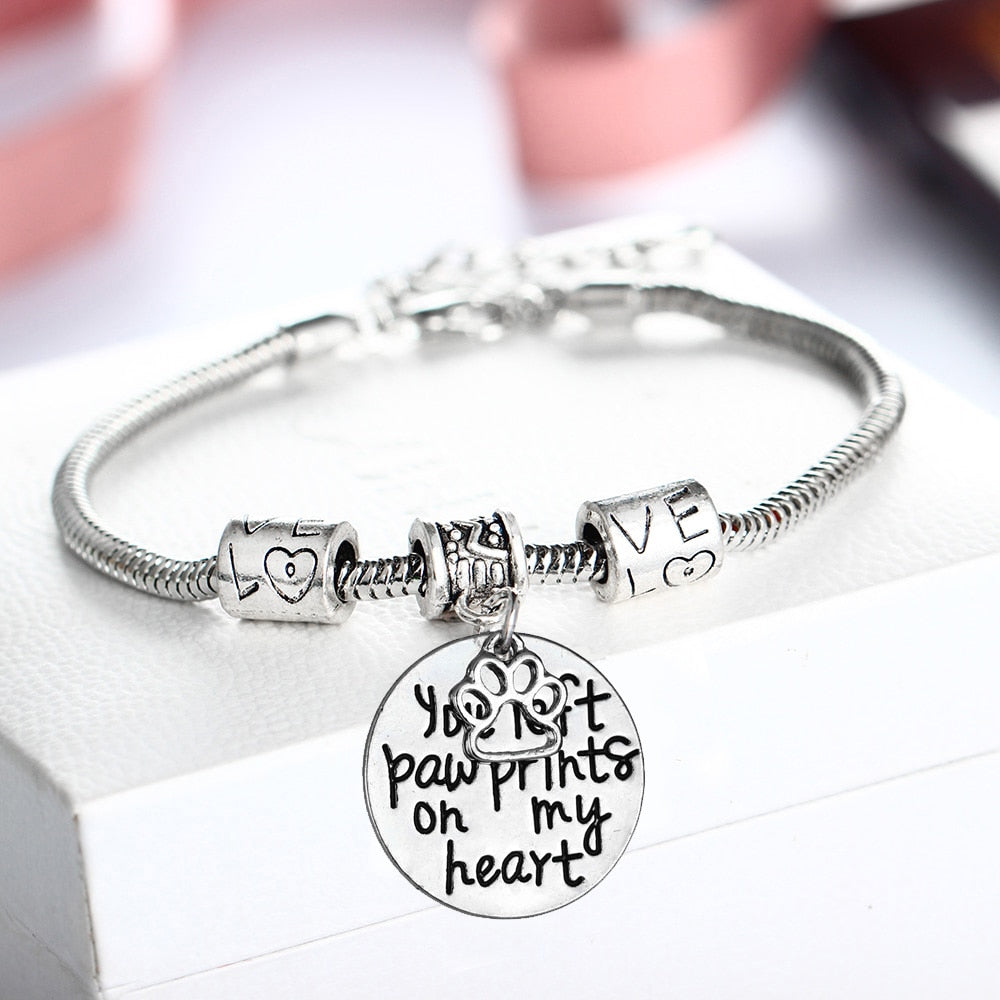 You Left Paw Prints On My Heart Bracelet Dog Pet Claw Love Beads Bangle Animals Rescue Women BFF Birthday Party Gift Jewelry Hot