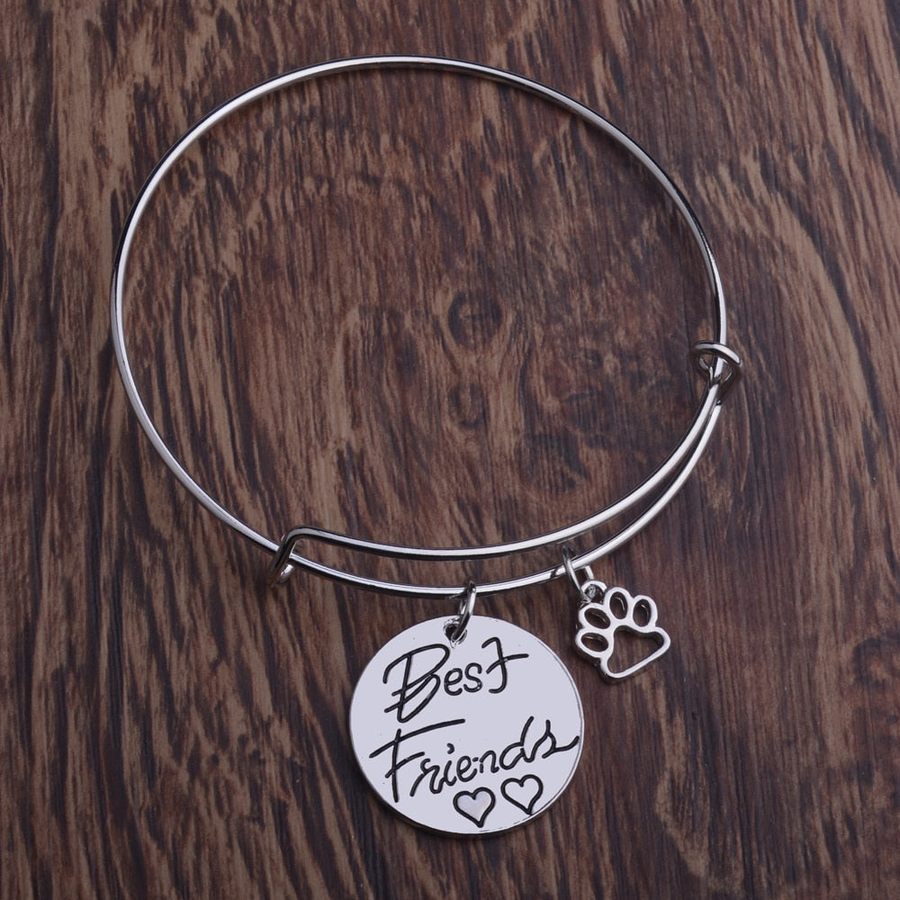 Friendship Forever Bangles Best Friends Double Heart Bracelet Dog Pet Claw Paws Dog Lover Animals Rescue BFF Gifts Charm Jewelry