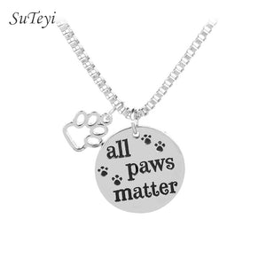 "SUTEYI Pet Lovers Rescue Necklace Jewelry Inspirational Message ""All Paws Matter"" Pendant Dog Cat Animal Foot Paw Necklaces"