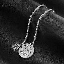 "Load image into Gallery viewer, SUTEYI Pet Lovers Rescue Necklace Jewelry Inspirational Message ""All Paws Matter"" Pendant Dog Cat Animal Foot Paw Necklaces"