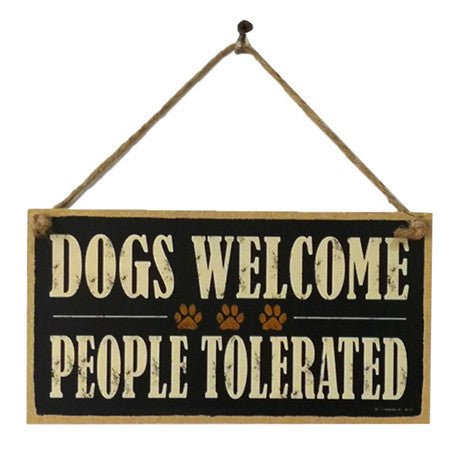 DOGS WELCOME Wooden Sign Board Retro Hanging