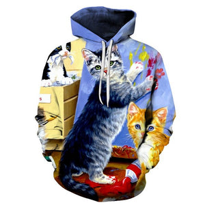 Woman's Sweatshirt 3D Kitten Print