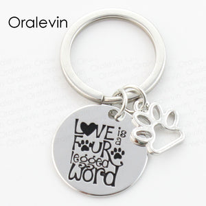 LOVE IS FOUR LEGGED WORD Engraved Pet Dog Pawprint Charms Keychain Rescue Dog Lover Gift Jewelry 22MM,#LN162K